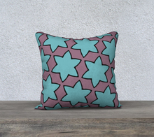 Load image into Gallery viewer, The Rita Reversible Pillow in Blue and Purple-Clash Patterns