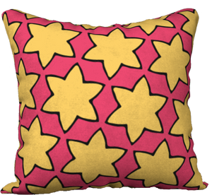 The Rita Reversible Pillow in Pink and Yellow
