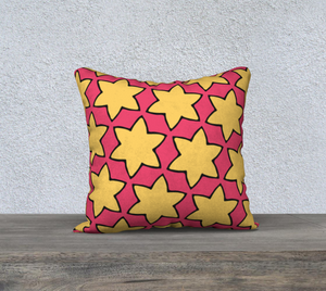 The Rita Reversible Pillow in Pink and Yellow-Clash Patterns