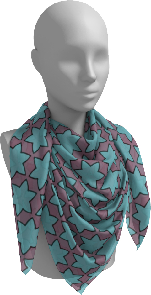The Rita Square Scarf in Blue and Purple