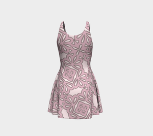 The Rose Flare Dress in Rose-Clash Patterns