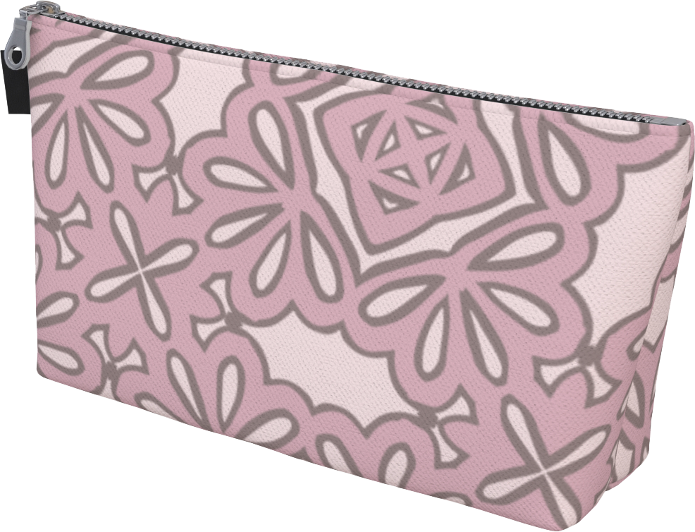 The Rose Makeup Bag in Rose-Makeup Bag-Clash Patterns by Jennifer Akkermans
