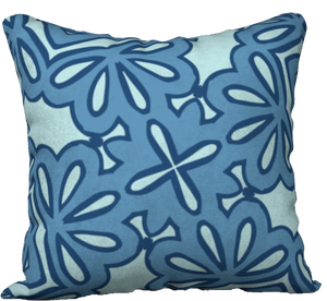 The Rose Reversible Pillow in Blue