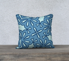 Load image into Gallery viewer, The Rose Reversible Pillow in Blue-Clash Patterns
