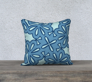 The Rose Reversible Pillow in Blue-Clash Patterns