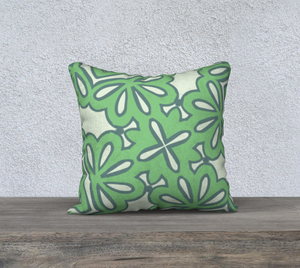 The Rose Reversible Pillow in Pistachio-Clash Patterns