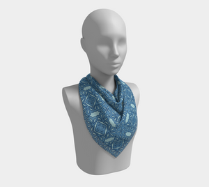 The Rose Square Scarf in Blue