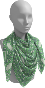 The Rose Square Scarf in Pistachio-Square Scarf-Clash Patterns by Jennifer Akkermans
