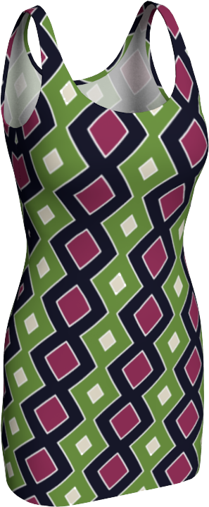 The Samantha Fitted Dress in Green and Wine