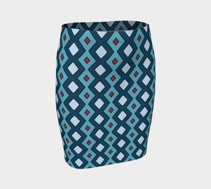 The Samantha Fitted Skirt in Blue-Clash Patterns