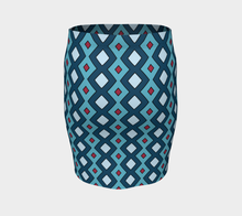 Load image into Gallery viewer, The Samantha Fitted Skirt in Blue-Clash Patterns