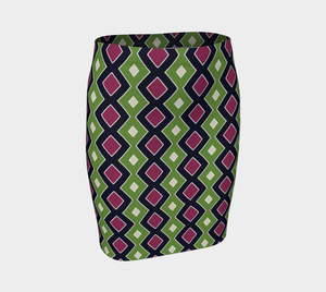 The Samantha Fitted Skirt in Green and Wine-Clash Patterns