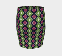 Load image into Gallery viewer, The Samantha Fitted Skirt in Green and Wine-Clash Patterns