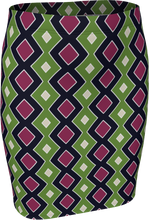 Load image into Gallery viewer, The Samantha Fitted Skirt in Green and Wine