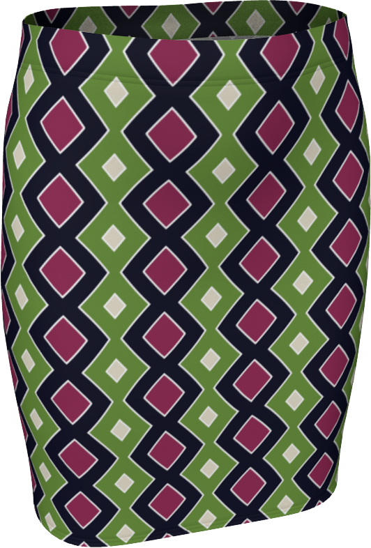 The Samantha Fitted Skirt in Green and Wine