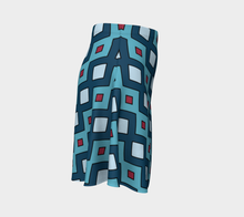 Load image into Gallery viewer, The Samantha Flare Skirt in Blue-Clash Patterns