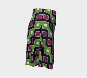 The Samantha Flare Skirt in Green and Wine-Clash Patterns