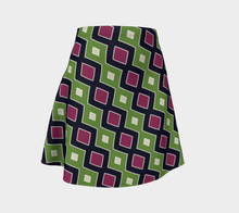 Load image into Gallery viewer, The Samantha Flare Skirt in Green and Wine-Clash Patterns