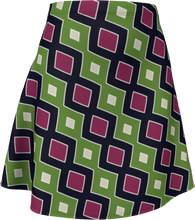 Load image into Gallery viewer, The Samantha Flare Skirt in Green and Wine