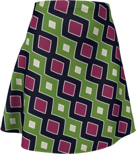 The Samantha Flare Skirt in Green and Wine