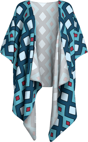 The Samantha Kimono in Blue-Draped Kimono-Clash Patterns by Jennifer Akkermans