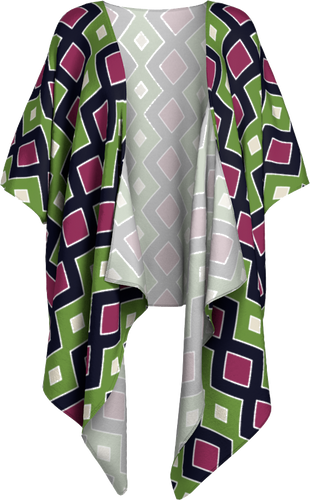 The Samantha Kimono in Green and Wine-Draped Kimono-Clash Patterns by Jennifer Akkermans