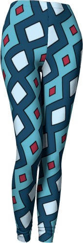 The Samantha Leggings in Blue-Leggings-Clash Patterns by Jennifer Akkermans