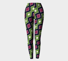 Load image into Gallery viewer, The Samantha Leggings in Green and Wine-Clash Patterns
