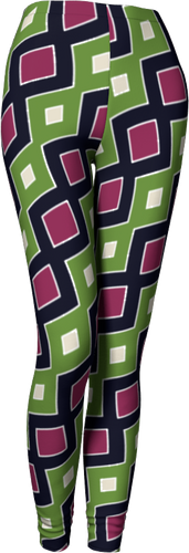 The Samantha Leggings in Green and Wine-Leggings-Clash Patterns by Jennifer Akkermans