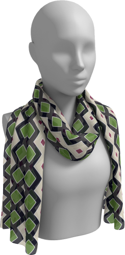 The Samantha Long Scarf in Navy and Green-Long Scarf-Clash Patterns by Jennifer Akkermans