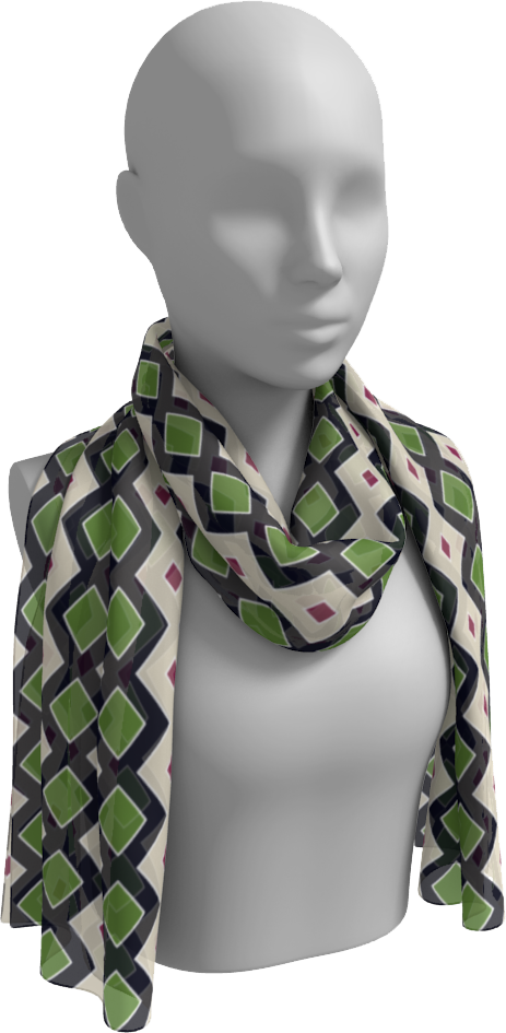 The Samantha Long Scarf in Navy and Green