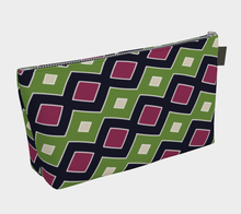 Load image into Gallery viewer, The Samantha Makeup Bag in Green and Wine-Clash Patterns