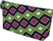 Load image into Gallery viewer, The Samantha Makeup Bag in Green and Wine-Makeup Bag-Clash Patterns by Jennifer Akkermans
