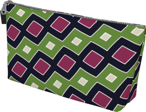 The Samantha Makeup Bag in Green and Wine-Makeup Bag-Clash Patterns by Jennifer Akkermans