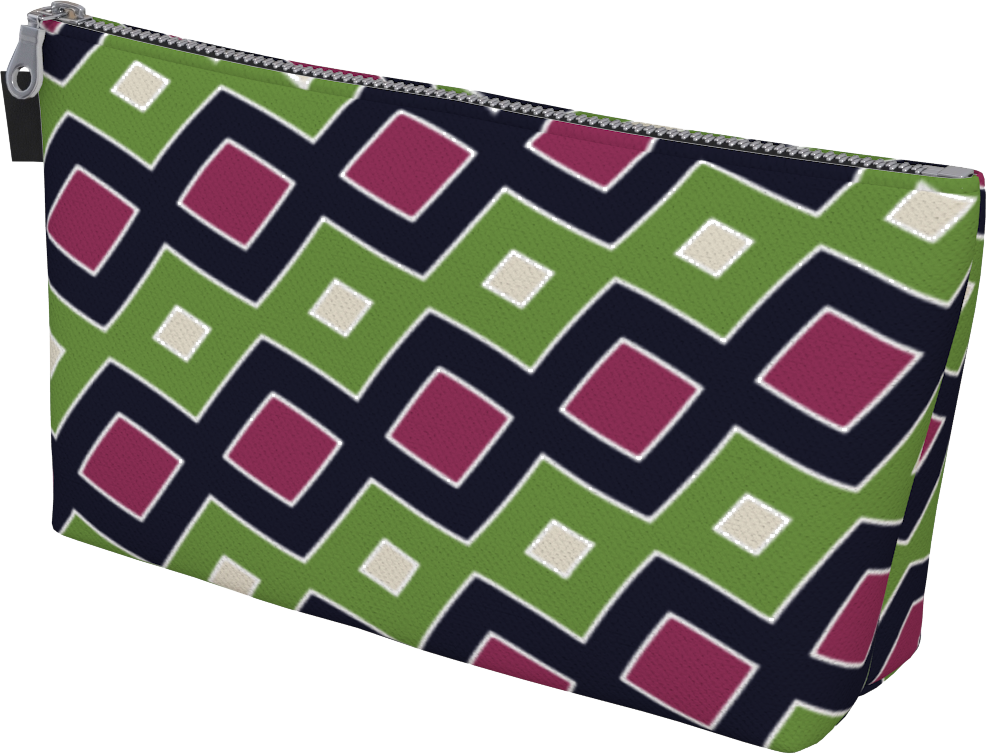 The Samantha Makeup Bag in Green and Wine