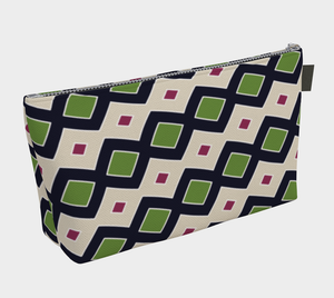 The Samantha Makeup Bag in Navy and Green-Clash Patterns