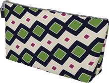 Load image into Gallery viewer, The Samantha Makeup Bag in Navy and Green-Makeup Bag-Clash Patterns by Jennifer Akkermans