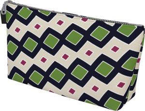 The Samantha Makeup Bag in Navy and Green