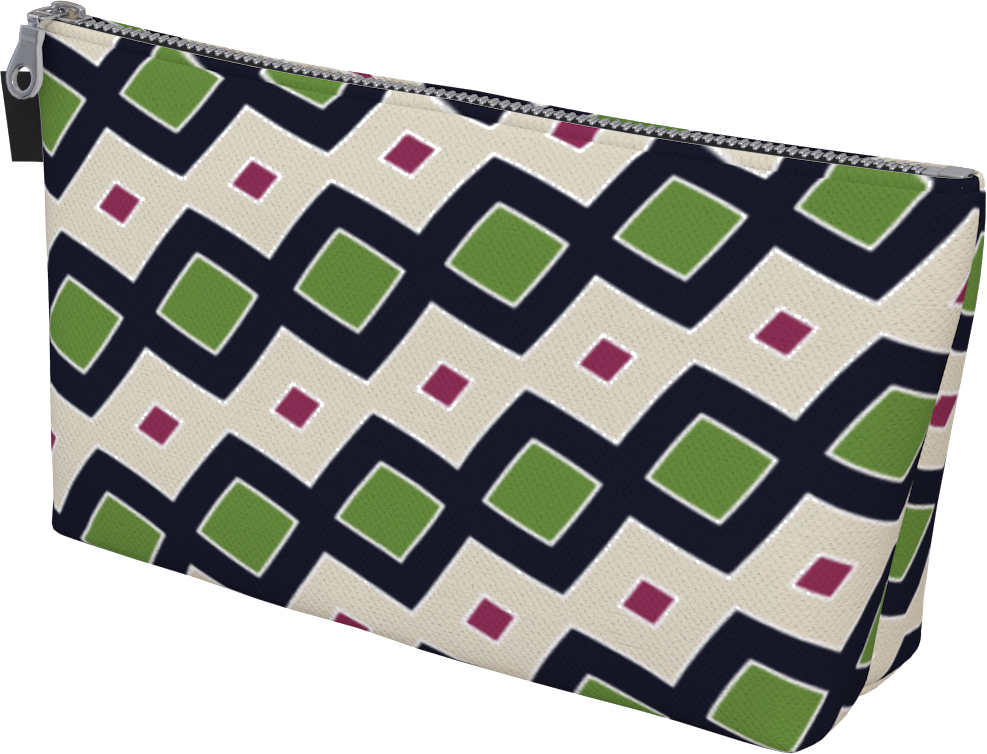 The Samantha Makeup Bag in Navy and Green-Makeup Bag-Clash Patterns by Jennifer Akkermans