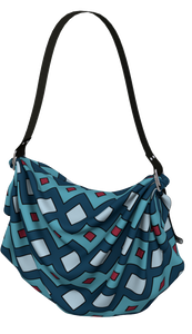 The Samantha Origami Bag in Blue-Origami Tote-Clash Patterns by Jennifer Akkermans