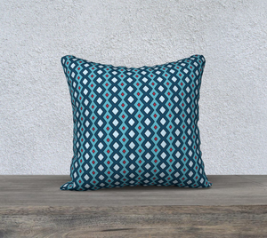 The Samantha Reversible Pillow in Blue-Clash Patterns