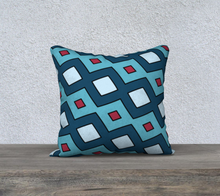 Load image into Gallery viewer, The Samantha Reversible Pillow in Blue-Clash Patterns