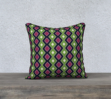 Load image into Gallery viewer, The Samantha Reversible Pillow in Green and Wine-Clash Patterns
