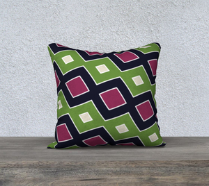 The Samantha Reversible Pillow in Green and Wine-Clash Patterns