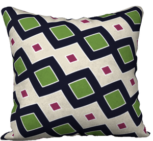 The Samantha Reversible Pillow in Navy and Green