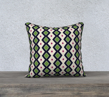 Load image into Gallery viewer, The Samantha Reversible Pillow in Navy and Green-Clash Patterns