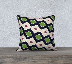 The Samantha Reversible Pillow in Navy and Green-Clash Patterns