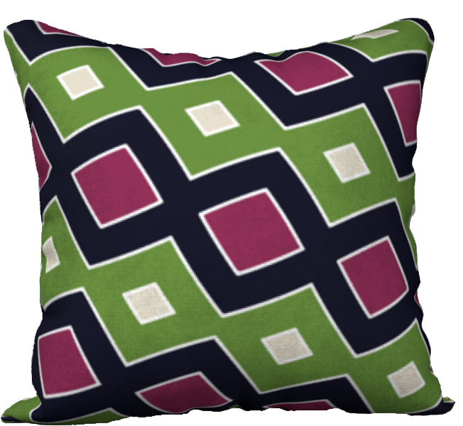 The Samantha Reversible Pillow in Green and Wine