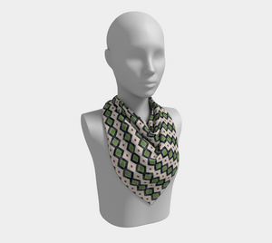 The Samantha Square Scarf in Navy and Green
