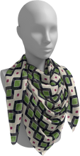 Load image into Gallery viewer, The Samantha Square Scarf in Navy and Green-Square Scarf-Clash Patterns by Jennifer Akkermans